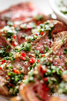 Steaks with Chimichurri | cafedelites.com