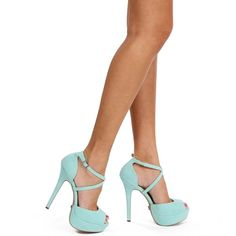 Turquoise Ankle Strap Heels ($29) ❤ liked on Polyvore