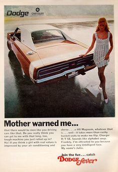 '69 Charger R/T SE advertisement. Great ad campaign by Dodge.