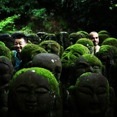 500 + 2 disciples at Otagi Nembutsudera Temple in Adashino, Kyoto. #kyoto #moss #green #sculpture