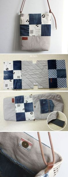 Denim Bag Tutorial DIY Denim Bag Made with Recycled Jeans. ~ Step by step illustration sew tutorial.DIY Denim Bag Made with Recycled Jeans. ~ Step by step illustration sew tutorial. Diy Jeans, Recycle Jeans, Sewing Jeans, Diy Denim Purse, Women's Jeans, Blue Jeans, Patchwork Bags, Quilted Bag, Patchwork Quilting