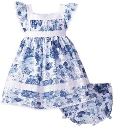 Amazon.com: Laura Ashley London Baby Girls' Floral Dress, Blue, 24 Months: Clothing