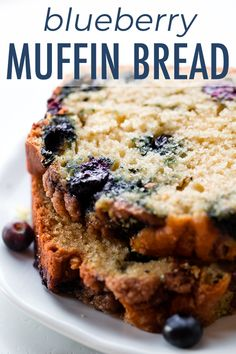 Blueberry muffin bread is soft, moist, and completely overloaded with blueberrie. Blueberry muffin bread is soft, moist, and completely overloaded with blueberries. Enjoy it warm fr Quick Bread Recipes, Muffin Recipes, Gourmet Recipes, Baking Recipes, Breakfast Bread Recipes, Breakfast Items, Pie Recipes, Dinner Recipes, Blueberry Loaf