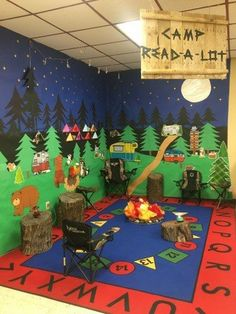 Camp Read-A-Lot Camping themed bulletin board set. Camping themed reading corner. Camping theme classroom inspiration. Products used in photo were purchased from The Pointless Pencil!
