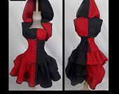 Harley Quinn Style Top, Hoodie Bolero Shrug, Corset, Mini Skirt w Diamonds, Add-a-Bustle Costume  by LoriAnn Custom Size