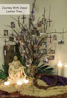 Journey With Jesus {eBooks and Lenten Activities and Jesus Tree} ~ Catholic Inspired Catholic Lent, Catholic Crafts, Catholic Easter, Catholic Icing, Jesus Tree, Church Altar Decorations, Lent Prayers, Prayer Stations, Lenten Season