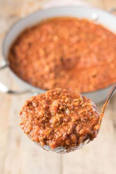 This traditional Bolognese sauce recipe is made using all the authentic ingredients like beef, pork, fresh tomato purée, then cooked low and slow for hours to develop a rich, hearty taste.