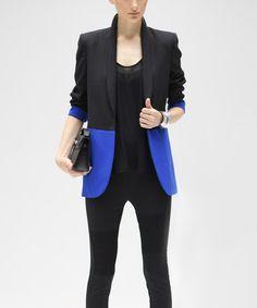 Look what I found on #zulily! Blue & Black Color Block Blazer #zulilyfinds