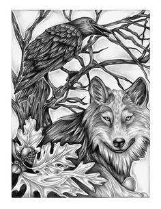 Wolf and Crow Print- Pagan Art Pencil Illustration- Nature inspired