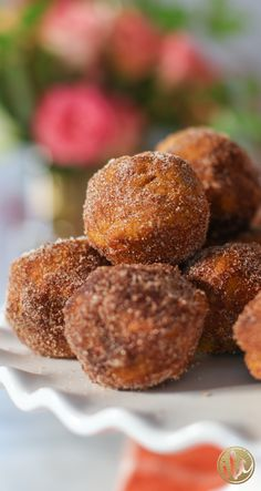 Baked Pumpkin Spice Donut Holes - fall baking via inspiredbycharm.com