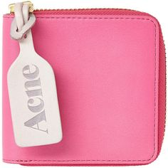 Acne Pink Amber Leather Wallet ($130) ❤ liked on Polyvore featuring bags, wallets, fillers, accessories, clutches, red leather bag, genuine leather wallet, pink bag, acne studios and genuine leather bag