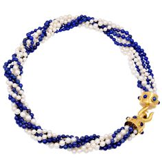 Cartier Lapis,Pearl & Gold Bead Necklace | From a unique collection of vintage beaded necklaces at http://www.1stdibs.com/jewelry/necklaces/beaded-necklaces/