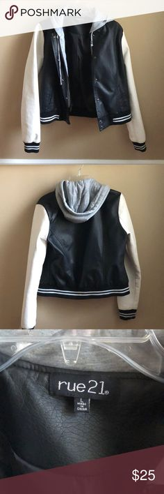 Varsity Jacket Style with Grey hood Never worn. This is a large but it fits like a small. Has a grey hood. Faux leather. ** BUNDLE AND SAVE ** :) Rue 21 Jackets & Coats Jean Jackets