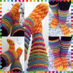 Color-therapy socks/haitari-sukat Novitan sateenkaari 7-veljestä langasta.