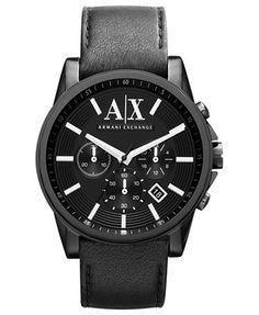 A X Armani Exchange Watch, Men's Black Leather Strap 45mm AX2098