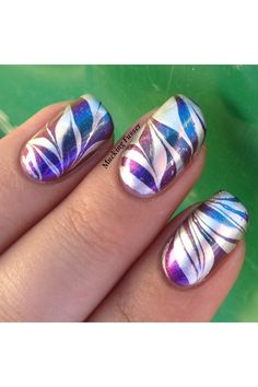 Image via Swirly peppermint water marble nail art, Christmas nails Image via How to make a purple nail art on the water Image via Cool water marble nails art designs Image vi Marble Nail Designs, Simple Nail Art Designs, Easy Nail Art, Cool Nail Art, Fancy Nails, Pretty Nails, Hair And Nails, My Nails, Water Marble Nail Art