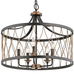 Shop Kichler Lighting Brookglen 20.47-in W Black and Suede Vintage Pendant Light with Shade at Lowes.com