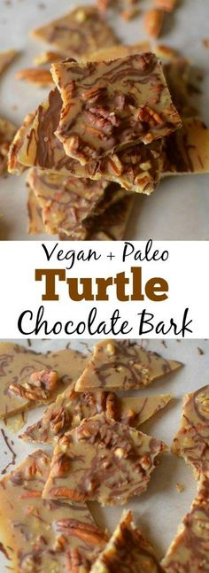 Only 5 ingredients are needed to create this tasty, decadent Turtle Pecan Candy Bark! With the great flavor combo of pecans, chocolate and caramel, youd never guess this bark is paleo vegan! Paleo Sweets, Paleo Dessert, Healthy Dessert Recipes, Healthy Baking, Healthy Desserts, Real Food Recipes, Delicious Desserts, Vegan Recipes, Cooking Recipes