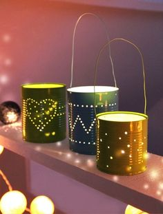 How to Make a Candle Holder out of a Tin Can - 5 DIY Tutorials. Recycled crafts are more fashionable than ever before, and some materials that you use on a daily basis can help you to. Tin Can Crafts, Diy And Crafts, Fall Projects, Diy Projects, Tin Can Lanterns, Diy Candle Holders, 242, Diy Weihnachten, Recycled Crafts