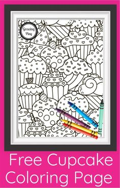 This FREE cute cupcake coloring page PDF is perfect for birthday parties, early finishers or anytime the kids unplug. Free from Growing Play