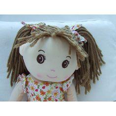 "Cuddly 16"" Rag Doll - Brown Hair European Girl European Girls, Rag Dolls, Stuffed Animals, Brown Hair, Crochet Hats, Fabric Dolls, Brown Scene Hair, Knitting Hats, Cloth Art Dolls"