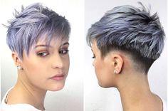 Short Grey Hair, Short Hair Cuts For Women, Black Hair, Colored Curly Hair, Short Pixie Haircuts, Curly Pixie, Sassy Hair, Funky Hairstyles, Funky Haircuts