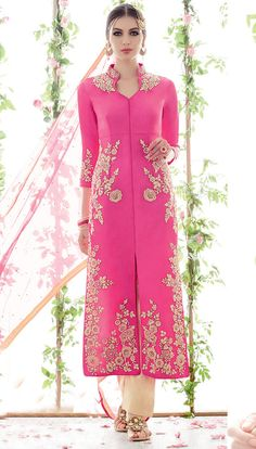 Pink Cotton Satin Pakistani Style Suit 56718
