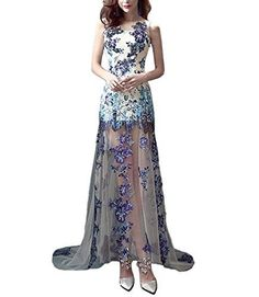Itopfox Womens Porcelain Pattern Lace Applique Evening Gown Prom Dress ** You can get additional details at the affiliate link Amazon.com.
