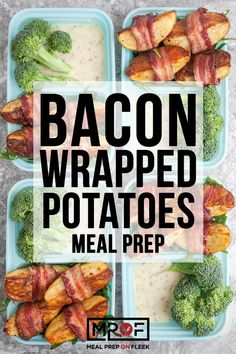 These bacon wrapped potato wedges are perfect for when you need an easy to prepare and satisfyingly Gluten free, Paleo, compliant snack on the go! Paleo Meal Prep, Lunch Meal Prep, Easy Meal Prep, Dinner Meal, Paleo Meals, Paleo Food, Healthy Food, Bacon Wrapped Potatoes, Quick Dinner Recipes