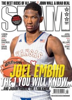 SLAM 177: Kansas Jayhawk Joel Embiid appeared on the cover of the 177th issue of SLAM Magazine (2014, cover 1 of 2).