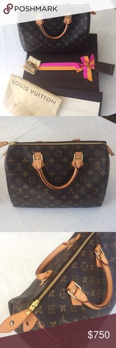 LOUIS VUITTON SPEEDY 30 + DUST BAG, BOX, KEY, LOCK In excellent condition with original dust bag, box, key and lock. I have the proof of purchase. Bag is 2 years old but was barely used which is why I am selling. Handles have MINIMAL wear as you can see in the pictures. Interior is clean. Contact if you want more info or pictures! Louis Vuitton Bags