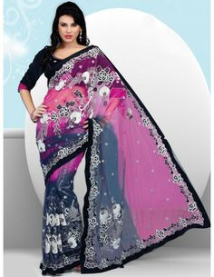 Lovely pink and grey color shaded net saree with contrast patch border are marvelous. Designer body is prettified with glossy stones, cutdana, jardozi, resham work floral creeper design and butties is looking awesome. Exclusive embroidered saree is designed to make you feel- I am the queen.   http://www.bharatplaza.in/ready-to-ship/sarees/pink-grey-saree-sni1603.html