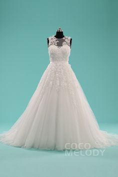 Queenly A-Line Illusion Natural Court Train Tulle Sleeveless Key Hole Wedding Dress with Ribbons LWXT1408E #cocomelody #weddingdress