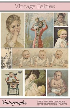 Sweet set of 10 vintage baby images for card making, collage, scrapbooking & more! Baby Images, Old Images, Vintage Images, Free Collage, Collage Art, Digital Scrapbooking Freebies, Vintage Christmas Images, Pocket Letters, Baby Portraits