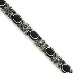 7.25 Inch Sterling Silver Marcasite and Onyx Bracelet goldia. $79.97
