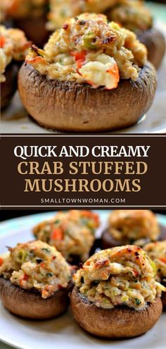 In less than 30 minutes, you can amaze your guests with the perfect party appetizer or light supper! Quick and Creamy Crab Stuffed Mushrooms are delicious for your holiday entertaining. Easy to prepare and quick to cook, this recipe is a must-try! Pin this for later! Mushroom Appetizers, Yummy Appetizers, Appetizers For Party, Seafood Appetizers, Appetizers For Thanksgiving, Crab Appetizer, Simple Appetizers, Best Appetizer Recipes, Dinner Recipes