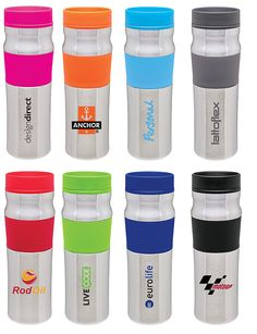 Keep #drinks #warm this #winter with a 16 OZ. #stainless steel  #tumbler. The #colorful silicone band compliments #logos and makes it #stylish with a sturdy #grip!