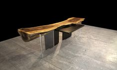 "SPALTED MAPLE ROUNDBACK RECEPTION DESK WITH ROSE GOLD FILL AND 2"" THICK ACRYLIC AND BLACKENED STEEL LEGS"