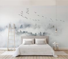 foggy mountain and birds wallpaper removable misty forest wall mural linving room bedroom wall poster Slef Adhesive Wallpaper My wallpaper is made of Polyester Fabric wallpaper that no glue and paste required when you install it and no tool required Decor Room, Bedroom Decor, Home Decor, Wall Paper Bedroom, Bird Bedroom, Bedroom Murals, Bedroom Wall Texture, Gray Bedroom, Bedroom Sets