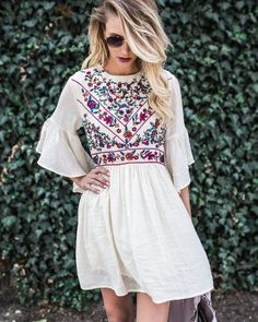 Maillot de bain : summer outfits Boho Soul Embroidered Dress… - C. Chic Summer Outfits, Spring Summer Fashion, Autumn Fashion, Summer Chic, Style Summer, Casual Summer, Look Fashion, Womens Fashion, Fashion Trends