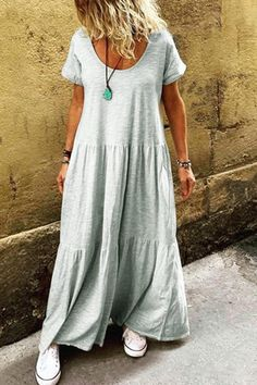 Material: Polyester Silhouette: A-Line Dress Length: Floor-Length Sleeve Length: Short Sleeve Neckline: Round Neck Closure:. Casual Dresses For Summer, Casual Outfits, Summer Maxi, Plain Dress, Vestido Casual, Looks Plus Size, Vestidos Vintage, Ruffle Shorts, Look Fashion