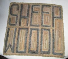 computer chair pad  hooked mat    wool  on a linen by marthaweaves, $200.00