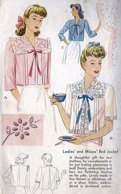 vintage bed jacket pattern | 1940s Misses Bed Jacket with Embroidery and Lace