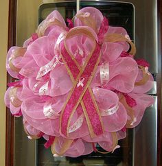 Pink Ribbon Breast Cancer Awareness Mesh Wreath by MeshinAround12