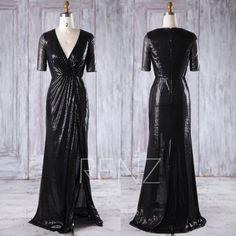 2016 V Neck Bridesmaid Dress Slit Black Sequin Wedding by RenzRags