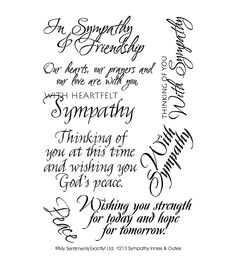 "My Sentiments Exactly Clear Stamps 4""X6"" Sheet-Sympathy"