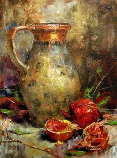 """Daily Paintworks - """"Ancient Pitcher at Thanksgiving"""" - Original Fine Art for Sale - © Julie Ford Oliver"""