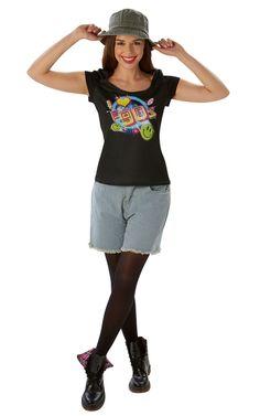 I Love 90 -t-paita. Naisten I Love 90 -t-paita ei nyt varsinaisesti ole mikään naamiaisasu, sillä se sopii käytettäväksi vaikka ihan joka päivä.