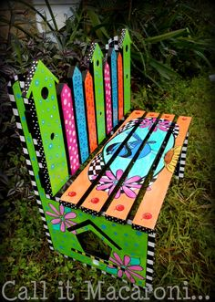 Whimsical Bird House Bench Whimsy Bench by CallitMacaroni on Etsy