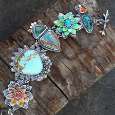 """I love this woman's work! So gorgeous! """"There are so many stones here: #8 turquoise,  chrysocolla,  fire opal, red coral, morenci turquoise,  cloisonne."""""""